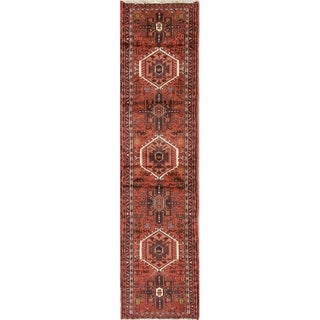 "Gharajeh Geometric Handmade Wool Persian Rug - 9'3"" x 2'3"" Runner"