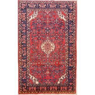 "Vintage Hamedan Geometric Handmade Wool Persian Area Rug - 7'3"" x 4'5"""