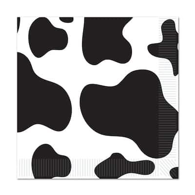 Beistle 2-Ply Farm Theme Cow Print Luncheon Napkins - 12 Pack (16/Pkg)