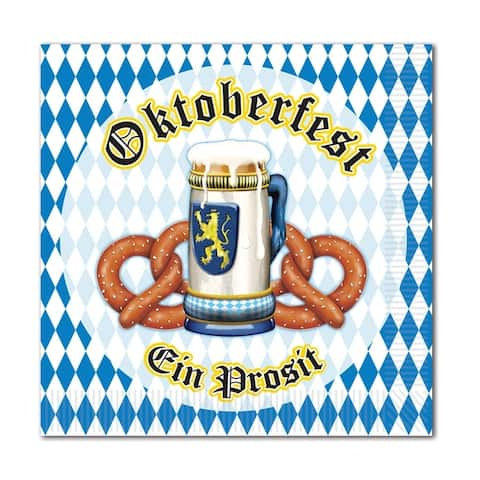 Beistle 2-Ply Oktoberfest Theme Beverage Napkins - 12 Pack (16/Pkg)