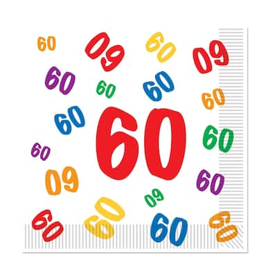 """Beistle 2-Ply """"60"""" Birthday Party Luncheon Napkins - 12 Pack (16/Pkg)"""