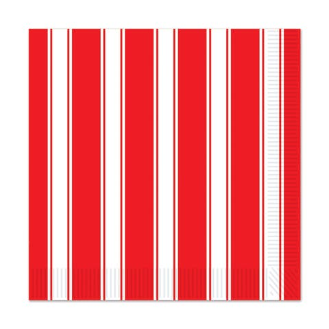 Beistle 2-Ply Red and White Stripes Circus Theme Luncheon Napkins - 12 Pack (16/Pkg)
