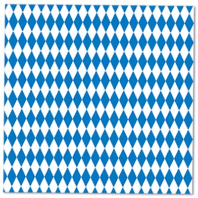 Beistle 2-Ply Blue and White Oktoberfest Luncheon Napkins - 12 Pack (16/Pkg)