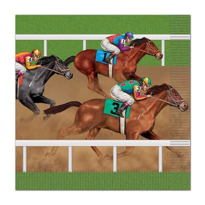 Beistle 2-Ply Derby Day Horse Racing Luncheon Napkins - 12 Pack (16/Pkg)