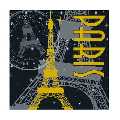 Beistle 2-Ply French Paris Theme Beverage Napkins - 12 Pack (16/Pkg)