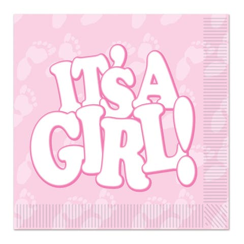 Beistle 2-Ply Baby Shower Theme It's a Girl Luncheon Napkins - 12 Pack (16/Pkg)