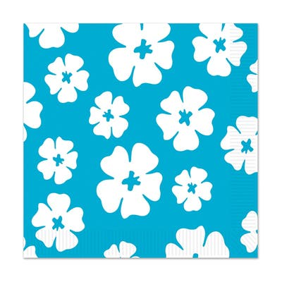 Beistle 2-Ply Luau Party Hibiscus Luncheon Napkins, Turquoise - 12 Pack (16/Pkg)