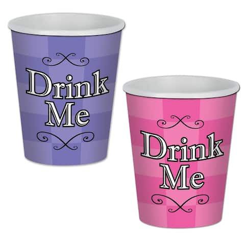 Beistle 9 Oz Alice in Wonderland Beverage Cups, Assorted Lavender and Pink - 12 Pack (8/Pkg)