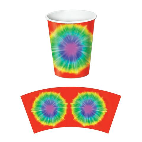 Beistle 60's Theme Tie Dyed Party Beverage Cups, 9 Oz - 12 Pack (8/Pkg)