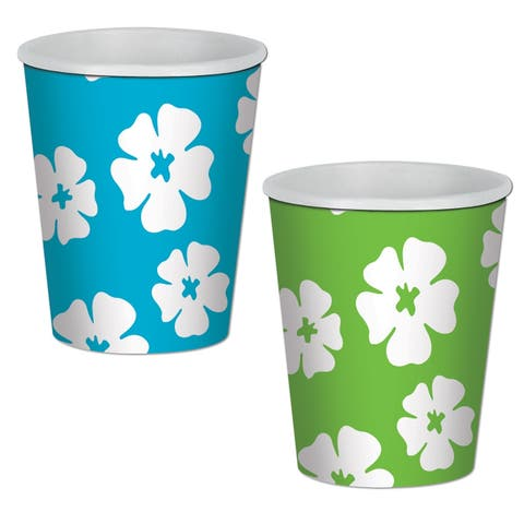 Beistle 9 Oz Luau Party Hibiscus Beverage Cups, Assorted Lime Green and Turquoise - 12 Pack (8/Pkg)