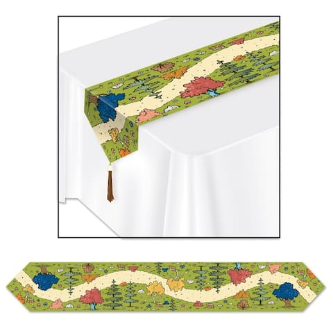 """Beistle 11"""" x 6' Printed Woodland Friends Party Table Runner - 12 Pack (1/Pkg)"""