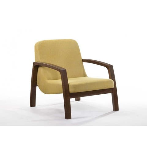 Carbon Loft Calacino Mid-century Modern Yellow and Walnut Accent Chair