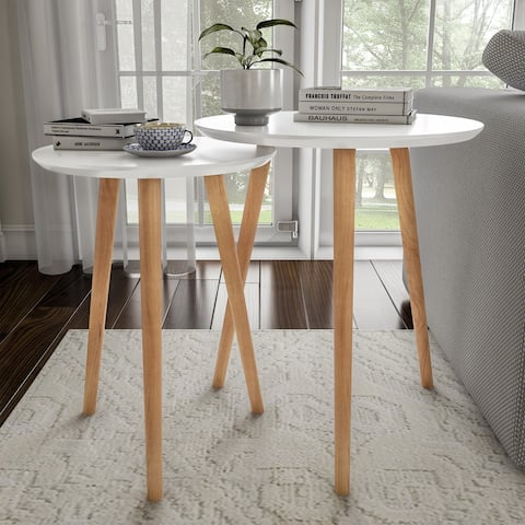 Nesting End Tables Mid-Century Modern Wood Contemporary Accent Tables with Circular Top by Lavish Home