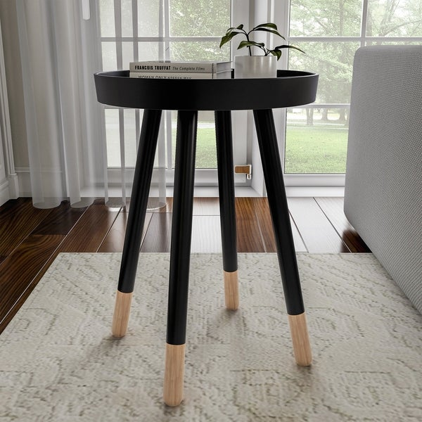 Carson Carrington Malka Round Mid-Century End Table