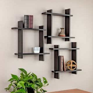 Burnes of Boston 3 Piece Interlocking Floating Wall Shelf Ledge Set