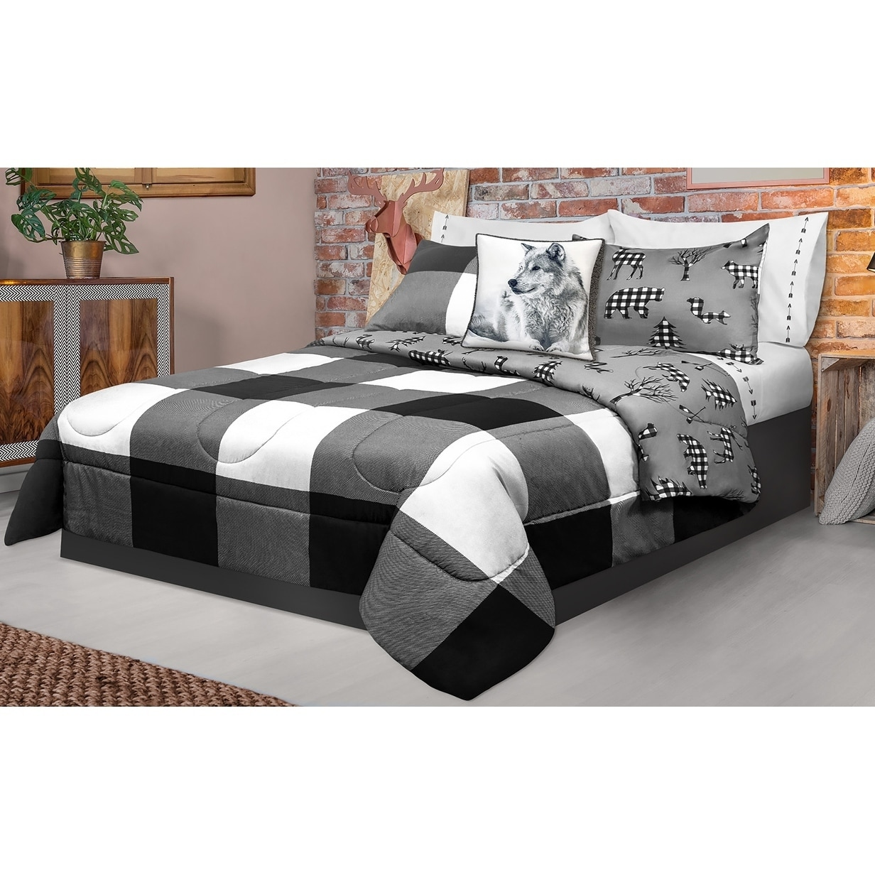 Collection Buffalo 2 Piece Comforter Set Twin Safdie Co