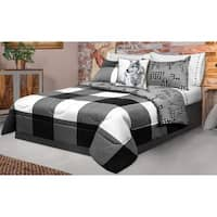 Comforter 2 Piece Set Twin Printed Buffalo Plaid White/Black