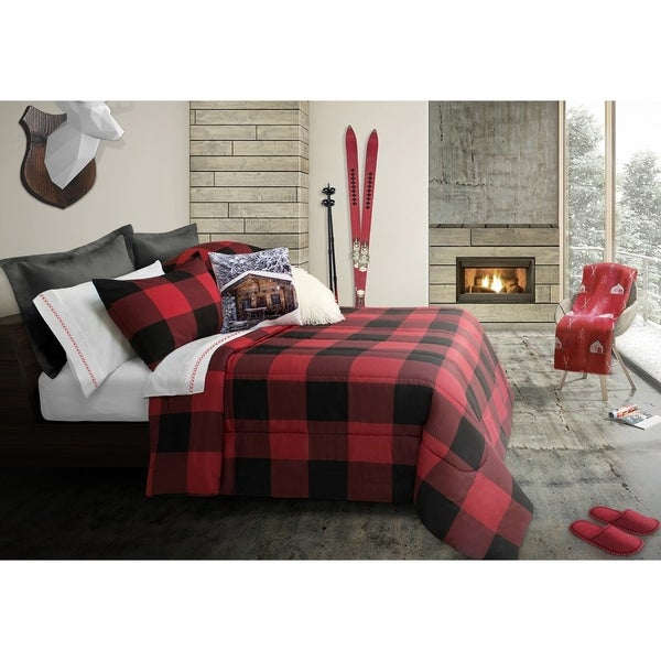 Shop Comforter Set 3 Piece King Revers Buffalo Plaid Red