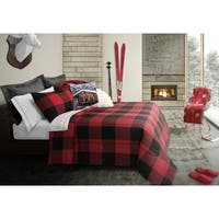 Comforter Set 3 Piece King Revers. Buffalo Plaid Red/Black