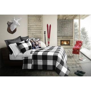 Comforter Set 3 Piece King Revers. Buffalo Plaid White/Black