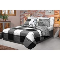 Comforter 3 Piece Set Full-Queen Printed Buffalo Plaid White/Black