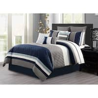 Comforter 7 Piece Set Microfiber Queen Ryker - Multi-Color