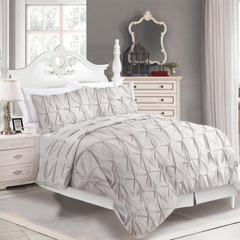 Comforter 3 Piece Jolie Pintuck Set Full-Queen Grey