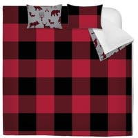 Comforter 3 Piece Set Full-Queen Printed Buffalo Plaid Red/Black