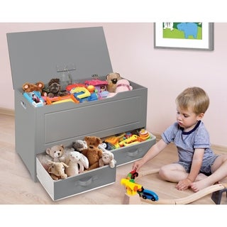 Taylor & Olive Verbena Grey Toy and Storage Box with Two Baskets