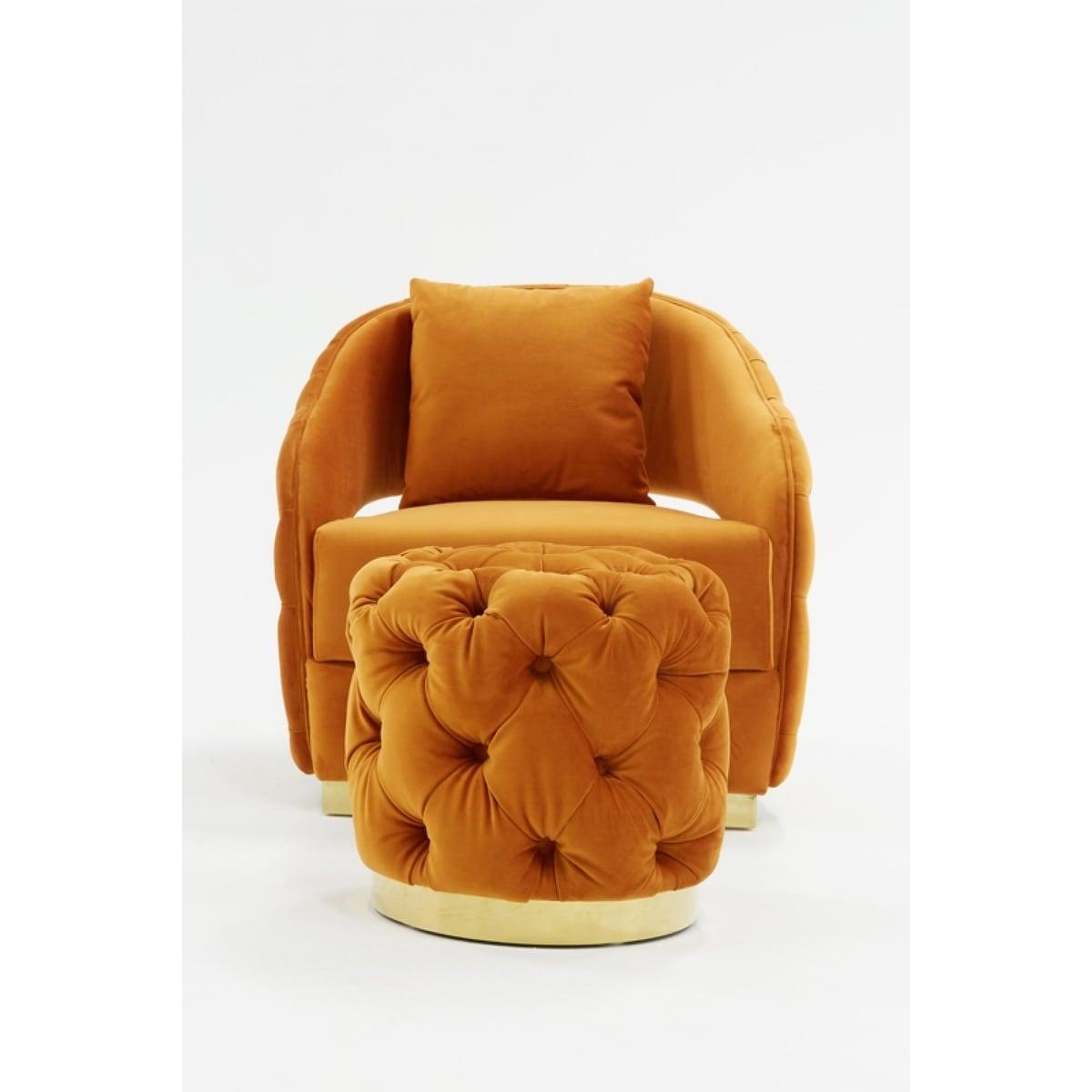 Miraculous Divani Casa Duarte Modern Orange Velvet Accent Chair Andrewgaddart Wooden Chair Designs For Living Room Andrewgaddartcom
