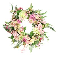 Pink & Yellow Hydrangea Artificial Spring Wreath w/ Green Foliage 20""