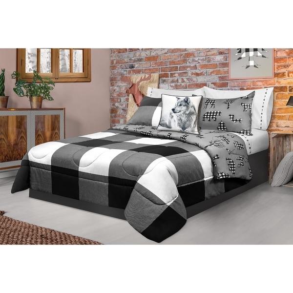 Comforter 3 Piece Set King Printed Buffalo Plaid White/Black