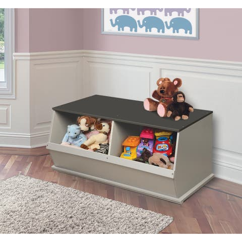 Taylor & Olive Lantana Woodgrain/ Grey Two Bin Stackable Storage Cubby