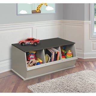 Taylor & Olive Lantana Woodgrain/ Grey Three Bin Stackable Storage Cubby