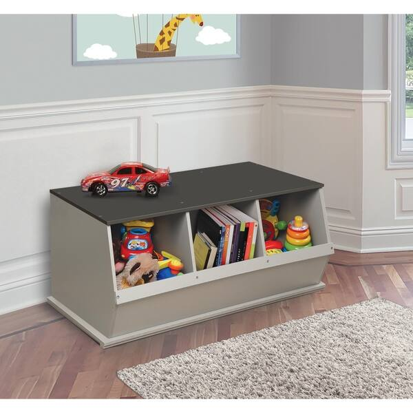 Shop Taylor & Olive Lantana Woodgrain/ Grey Three Bin Stackable