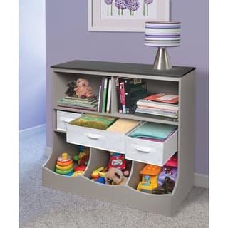 Taylor & Olive Lantana Woodgrain/ Grey Combo Bin Storage Unit with Three Baskets