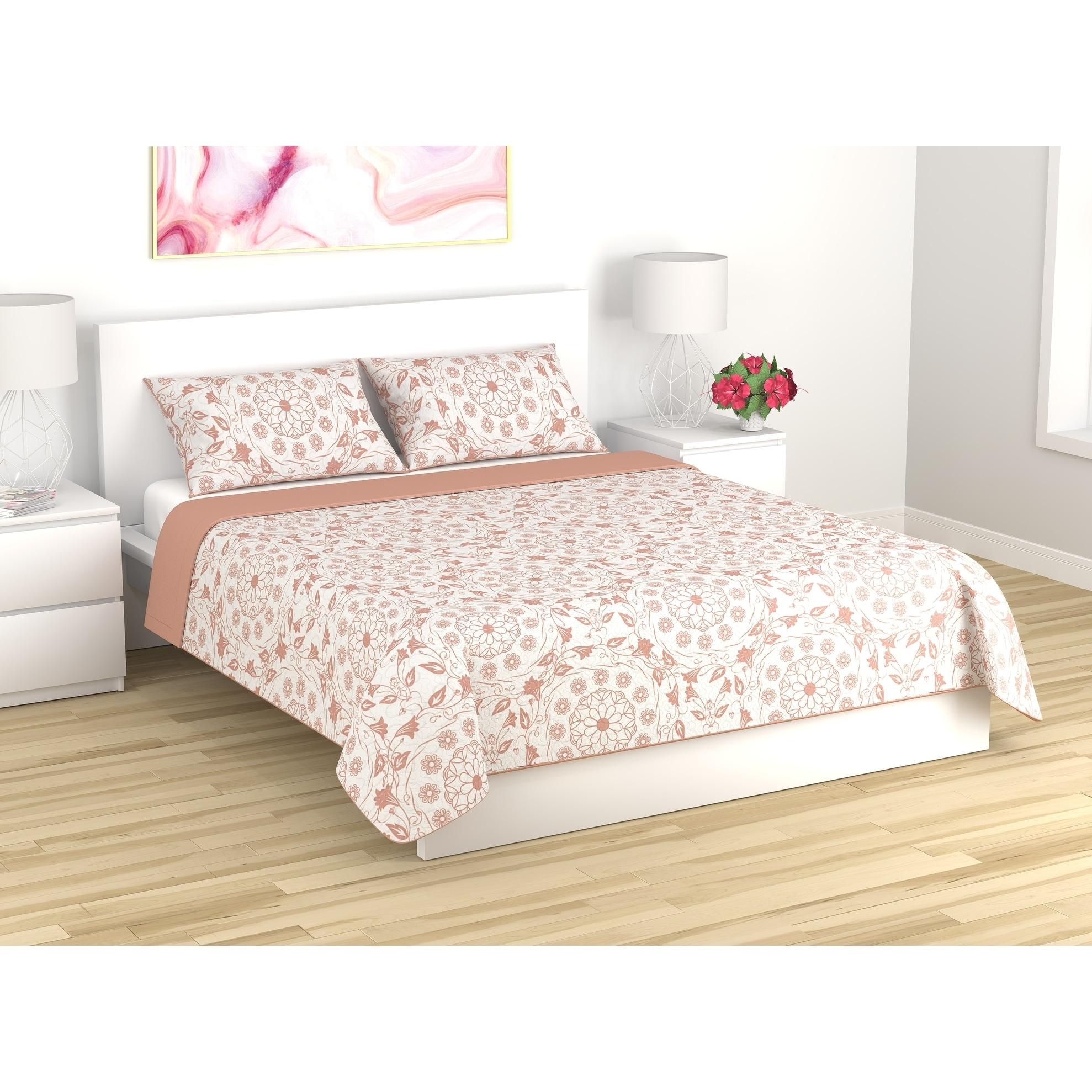Shop Quilt Blanket 3 Piece Set King Mandala Coral Cloud Overstock 26980809