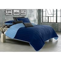 Quilt/Blanket Solid 3 Piece Set King Game Night Collection Navy/Twilight Blue