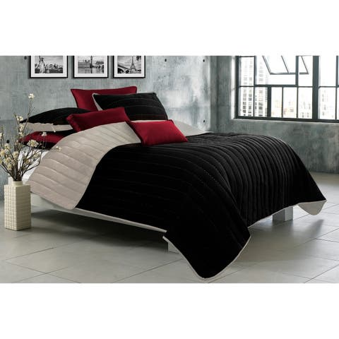 Quilt/Blanket Solid 3 Piece Set Full-Queen Game Night Collection Black/Taupe