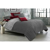 Quilt/Blanket Solid 2 Piece Set Twin Game Night Collection Grey/Light Grey