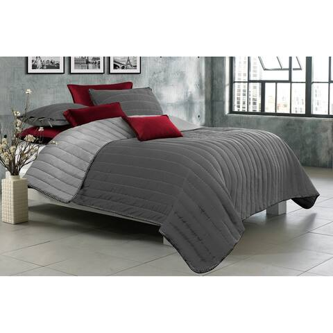 Quilt/Blanket Solid 3 Piece Set King Game Night Collection Grey/Light Grey