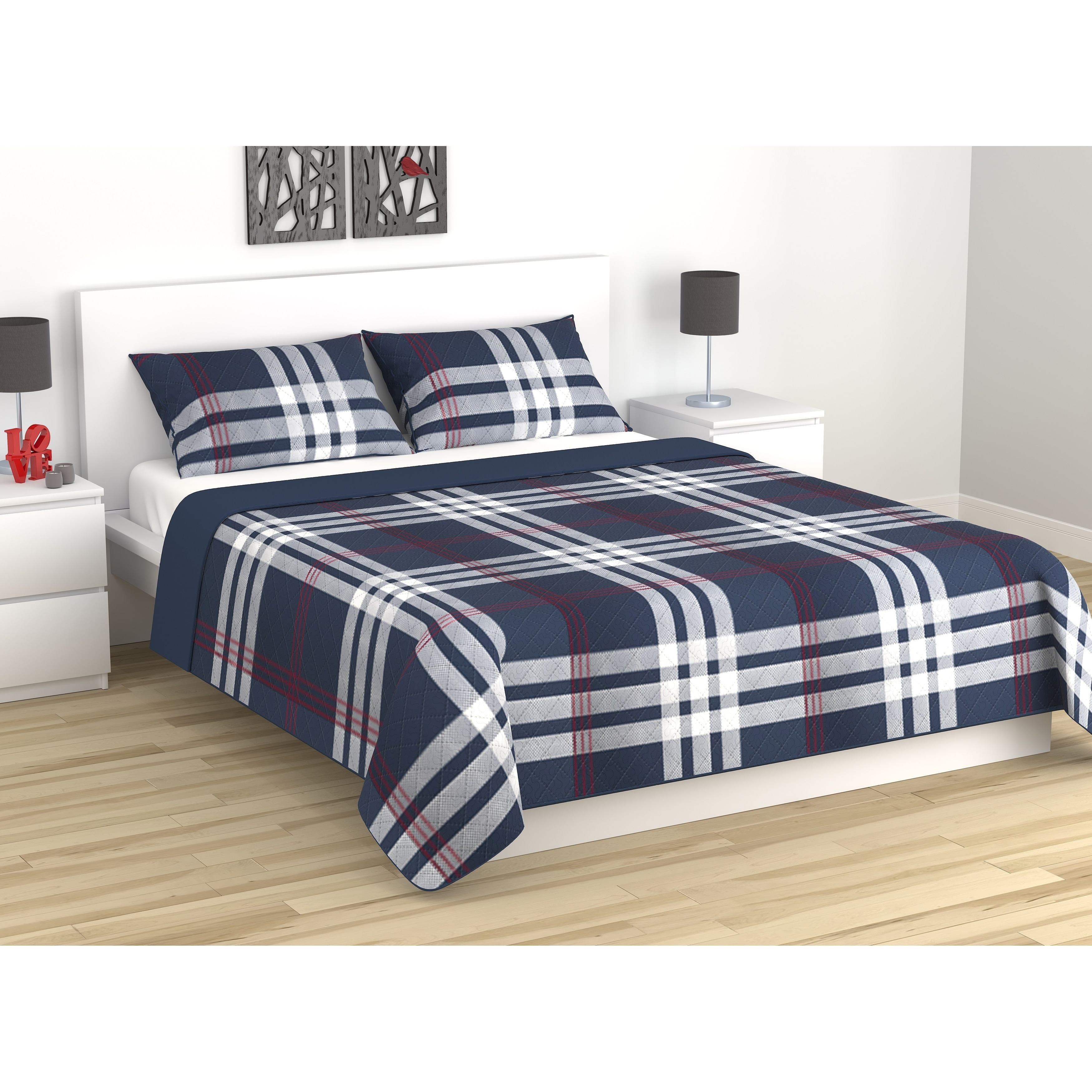 Quilt/Blanket Set 3 Pieces Twilight Collection Full-Queen Simple Plaid