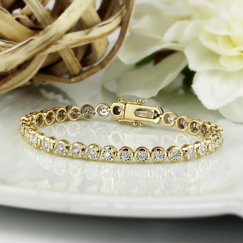 14K Yellow Gold Finish Womens 1CTW Diamond Tennis Bracelet Adjsutable Size Women