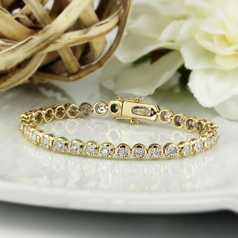 Lab Grown 2ctw Bezel-set Diamond Tennis Bracelet 14k Gold by Ethical Sparkle 7-inch
