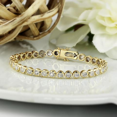 2 carat TW Bezel-set Lab Grown Diamond Tennis Bracelet 14k Gold by Ethical Sparkle - 7-inch