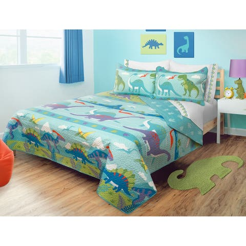 Quilt/Blanket 3 Piece Set Full-Queen Dino Park - Multi-Color