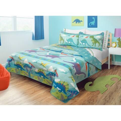 Quilt/Blanket 2 Piece Set Twin Dino Park - Multi-Color