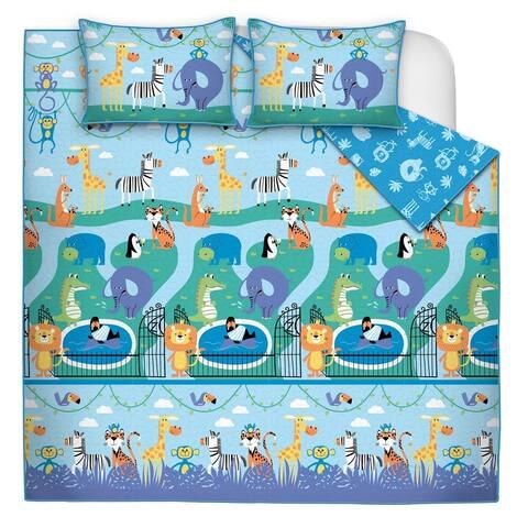 Quilt/Blanket 2 Piece Set Twin Zoo Land