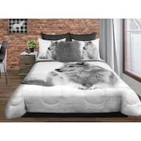 Comforter 3 Piece Set King Printed Snowy Wolf