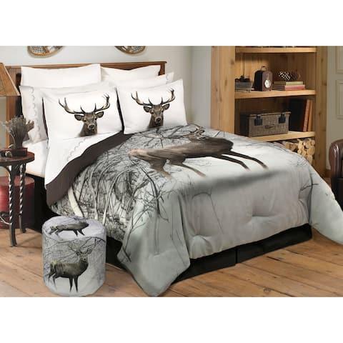 Comforter 3 Piece Set Full-Queen Deer In Snowy Forest